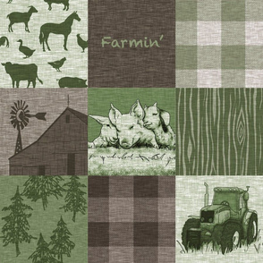 Farmin Quilt - green and brown