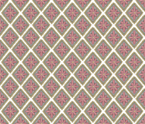 pink floral diamond pattern fabric by swoldham on Spoonflower - custom fabric