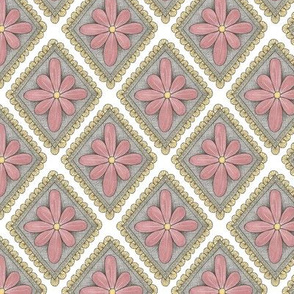 pink floral diamond pattern
