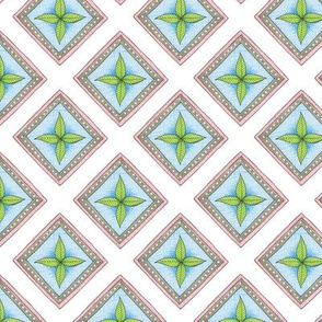 green leaf diamond pattern