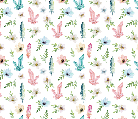 Flowers, feathers, crystals fabric by juliabadeeva on Spoonflower - custom fabric