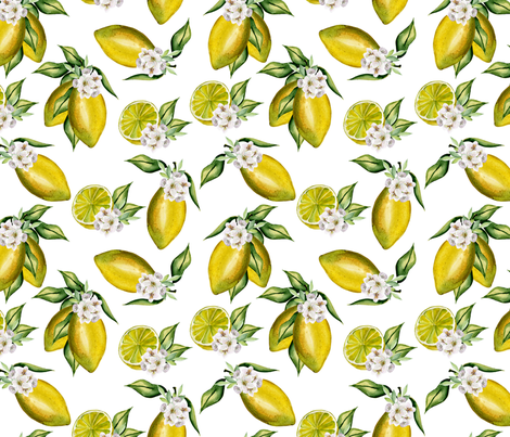 Lemons fabric by juliabadeeva on Spoonflower - custom fabric