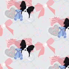 Papillon - Heart Pillow, Teddy Bear & Bows - Victorian