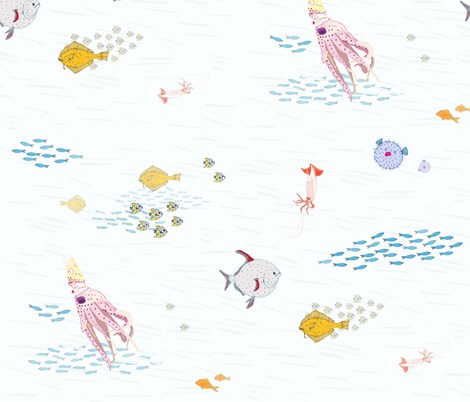 sea life in pastel fabric by lorose on Spoonflower - custom fabric