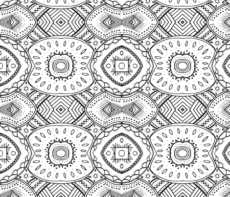 Lace-like Design | Black and White - Horizontal fabric by alexispdesigns on Spoonflower - custom fabric