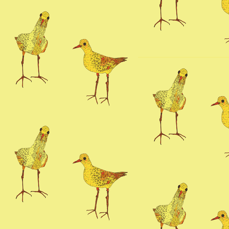 small yellow birds on yellow fabric by lorose on Spoonflower - custom fabric