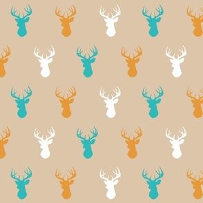 Deer - teal,orange,tan,white - Summer Woodland - Baby Nursery