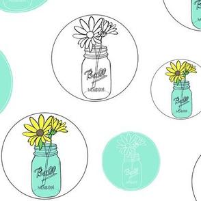 Aqua Mason Jars