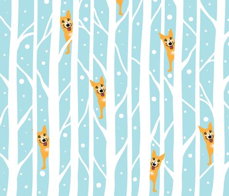 OrangeDogSnowyTrees fabric by marykane on Spoonflower - custom fabric