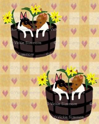 Toy Fox Terrier Puppies in the Flowers