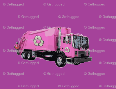 Pink Garbage Trash Trucks on Purple