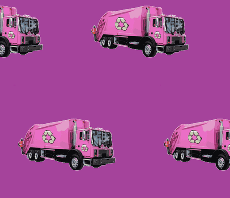 Pink Garbage Trash Trucks on Purple fabric by gethugged on Spoonflower - custom fabric