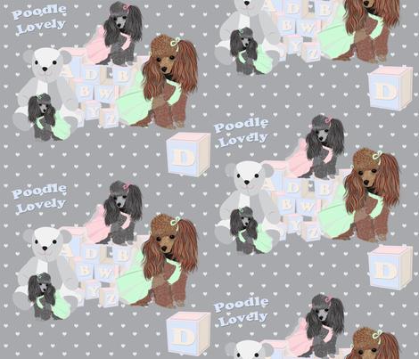Poodles - bears & blocks on hearts fabric by sherry-savannah on Spoonflower - custom fabric