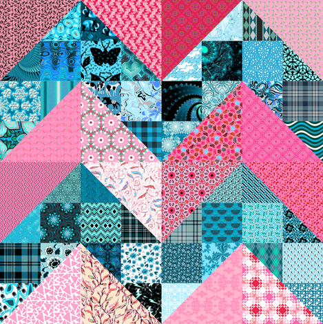 Pink and Blue Scrap Lightning Cheater fabric by eclectic_house on Spoonflower - custom fabric