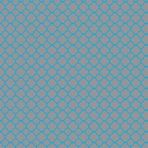 Grey with Blue Circle Quatrefoil