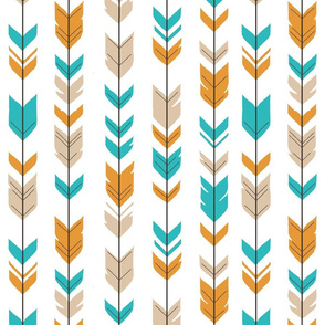 Arrow Feathers - teal,orange,tan,white - summer woodland