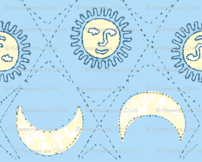 sun and moon embroidery