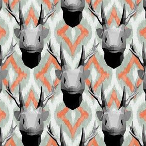 Geometric stag antlers on bargello pattern