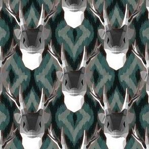 Geometric stag ikat pattern dark