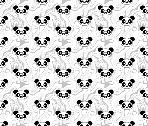 Polka Panda on Marble Swirl fabric by sylviaoh on Spoonflower - custom fabric
