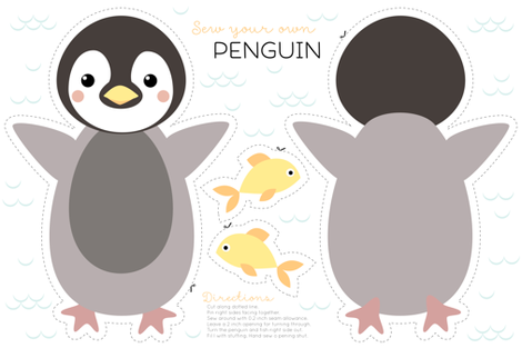 Penguin cut and sew fabric by heleenvanbuul on Spoonflower - custom fabric