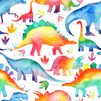 Rainbow Watercolour Dinosaurs - larger scale