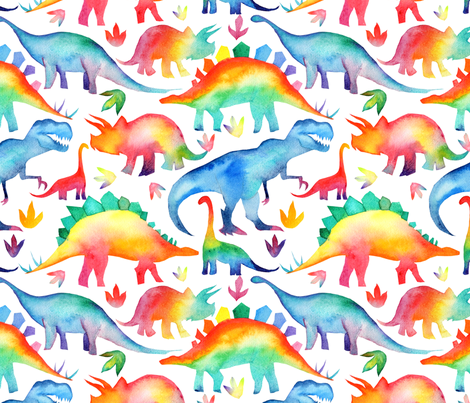 Rainbow Watercolour Dinosaurs - larger scale fabric by emmaallardsmith on Spoonflower - custom fabric
