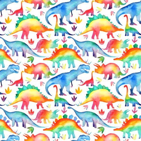 Rainbow Watercolour Dinosaurs - smaller scale fabric by emmaallardsmith on Spoonflower - custom fabric