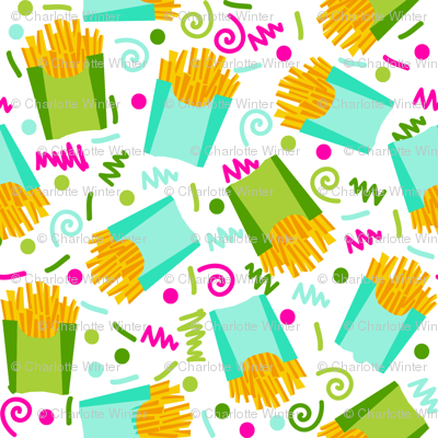 party fries french fries junk food fast food fries fabric 90s 80s edgy bright cool food fabric