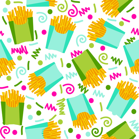 party fries french fries junk food fast food fries fabric 90s 80s edgy bright cool food fabric fabric by charlottewinter on Spoonflower - custom fabric