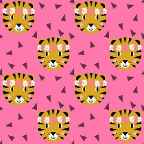 tiger crown girls pink cute flowers florals girls girly tigers fabric