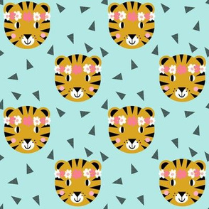 tiger cute girls mint tiger crown florals tiger fabric for nursery baby girls sweet tigers