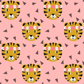 tiger crown florals flowers cute girls nursery baby sweet pink pastel pink flowers girls tiger fabric
