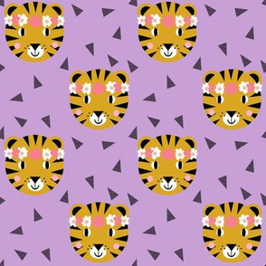 tiger purple pastel lavender lilac girls sweet flowers florals flower crown tiger fabric nursery baby