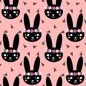 bunny head flowers pink pink triangles flower flower crown cute girls bunny rabbit head