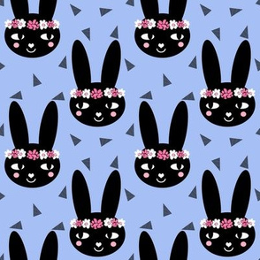 bunny head blue purple periwinkle girls rabbit flowers flower crown cute floral bunny print