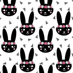black and white flower crown bunny girls nursery cute baby sweet flowers