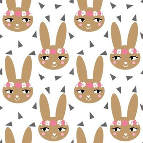 bunny brown cute bunnies sweet flower crown bunny rabbit girls nursery baby cute