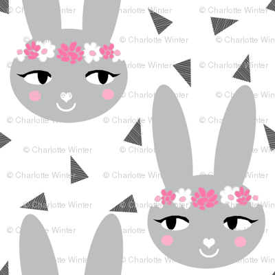 bunny rabbit grey flowers floral crown cute bunny rabbit sweet baby nursery girls grey and pink white