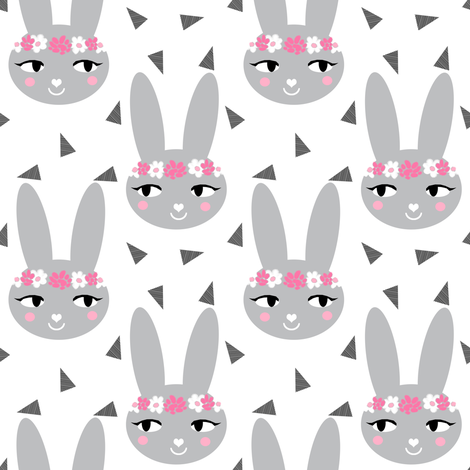 bunny rabbit grey flowers floral crown cute bunny rabbit sweet baby nursery girls grey and pink white fabric by charlottewinter on Spoonflower - custom fabric