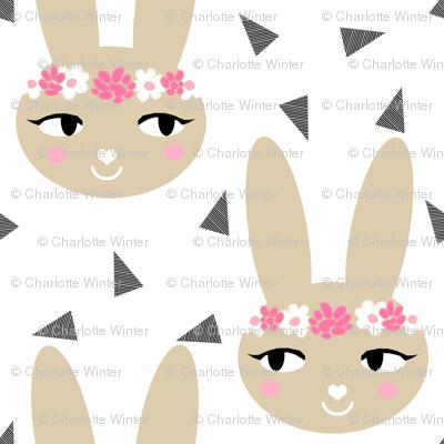 bunny rabbit pastel cute soft brown khaki sand flowers floral crown  sweet bunny rabbit head fabric for nursery