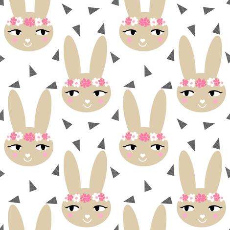 bunny rabbit pastel cute soft brown khaki sand flowers floral crown  sweet bunny rabbit head fabric for nursery fabric by charlottewinter on Spoonflower - custom fabric