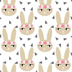 bunny rabbit pastel cute soft brown khaki sand flowers floral crown  sweet bunny rabbit head fabric for nursery