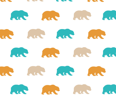 Bears - teal,orange,tan,white - Summer Woodland - Baby Boy fabric by sugarpinedesign on Spoonflower - custom fabric
