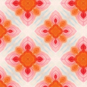 Oil Pastel Pink & Orange Quatrefoil
