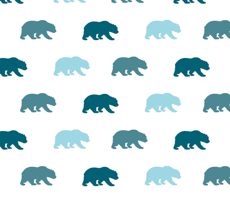 Bears - teals on white - Winslow Wood - Baby Boy fabric by sugarpinedesign on Spoonflower - custom fabric