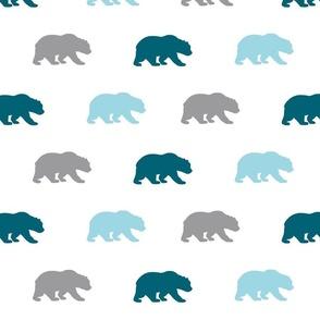 Bears - Winslow Woodland - Blue, teal, grey on white