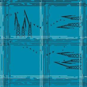 Checked Cranes in Sea Blue