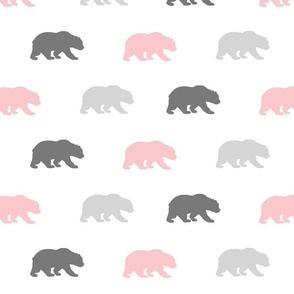 Bears - pink and Gray on white