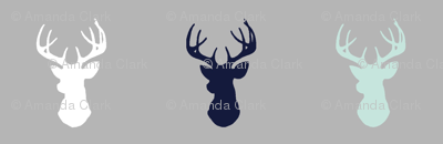 Deer - mint,navy,grey - Evenstar - Woodland nursery